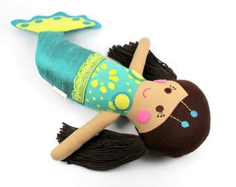 mermaid doll | mermaid cloth doll | plush toy  | softie doll  | custom mermaid  | little mermaid  | serafina doll  | handmade mermaid doll