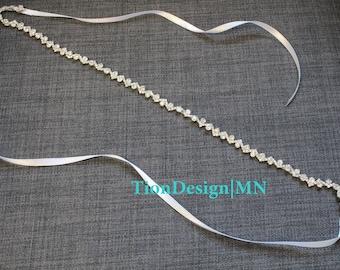 Crystal Bridal Sash | Silver Skinny Wedding Belt | Thin Rhinestone Wedding Sash SB-18