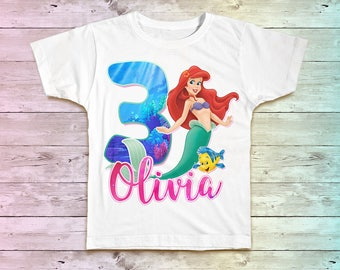 Little Mermaid Birthday Shirt, Ariel Family Birthday Tshirt, Little Mermaid Mommy Birthday Party Shirt , Little Mermaid Daddy Birthday Shirt