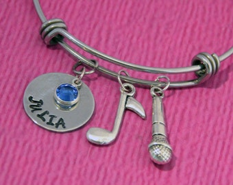 Singer Gifts | Microphone Bracelet | Gifts for Singer | Personalized Jewelry | Singer Jewelry | Daughter Gift | Microphone | Singer Bracelet
