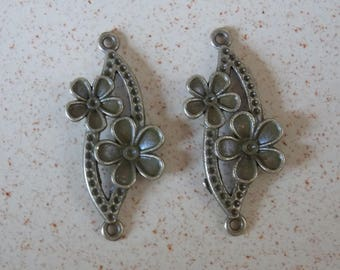 Antique bronze flower duo connector