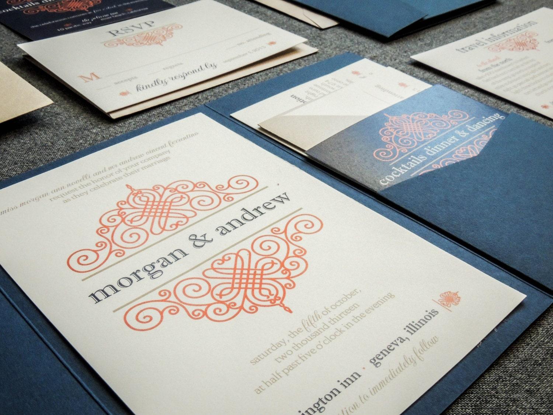 Vintage Scroll Invitations Navy Blue Pocketfold Wedding