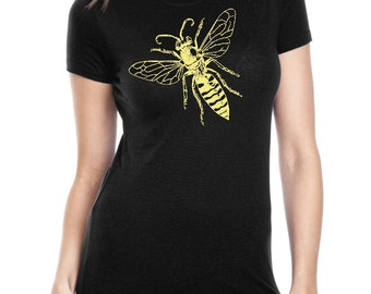 Womens Bee Tshirt Screen Printed Women's Shirts Save the Bee's Incect Print Spring Nature Summer Ladies Fashion