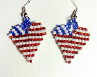 Beaded Flag Heart Earrings