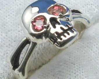 Pink Tourmaline Eyes, Skull and Cross Bones Pirate Ring, October Birthstone, Recycled Sterling Silver, Jolly Roger, Libra, Scorpio Zodiac