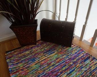 hand woven rag rug, multi-colored rug, floor rugs, rug runners, hallway rugs, handwoven rugs, rag rugs, living room rugs, modern rugs