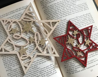 Two stars wood Christmas decoration