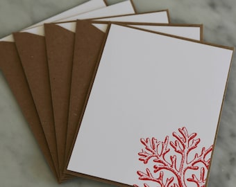 Coral Embossed Stationary | Nautical Notecard | Set of 5 Notecards | Coral Notecard | Nautical Coral Notecards | Red Coral | Hand Stamped