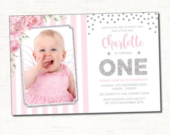 Pink and Silver First Birthday Invitation. Silver Glitter Confetti Printable Invite. Floral Photo Invitation. Confetti Shower Invite. CON2