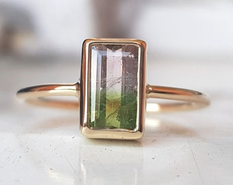 Solid 9K 375 yellow gold ring with natural watermelon baguette cut tourmaline - natural bicolor gemstone - handmade jewelry - resizing free