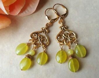 Lime Jade Gemstone Dangle Earrings.Gold.Silver.Green.Statement.Chandelier.Bridal.Long Earrings.Bohemian.Formal.Big Earrings.Handmade.