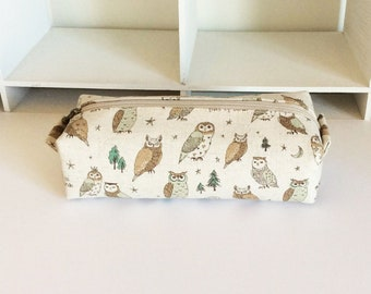 Long box pouch - Owl in natural