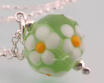 "Lampwork Glass Floral Posy Pendant - Handmade Round Glass Pendant with Daisies,  Sterling Silver, 16"" or 18"" chain"