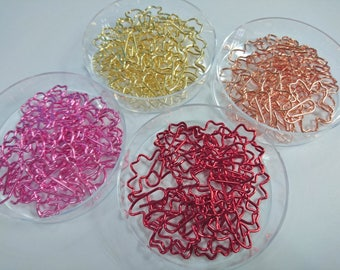 5/10/15/20 Sakura Paper Clips, Cherry Blossom Paper Clips, Stationery, Fancy Stationery, Floral Shape Stationery, Page Marker, Bookmark