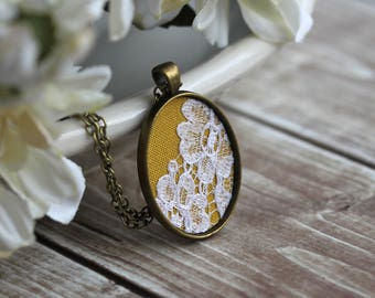 Boho Jewelry, Small Fabric Lace Pendant, Oval Necklace, Unique Mustard Yellow Bridesmaid Gift