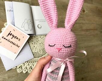 Crochet bunny. Amigurumi bunny. Crochet bunny long eyer toy. Pink crochet  bunny. Bunny toy. Bunny gift. Pink bunny.