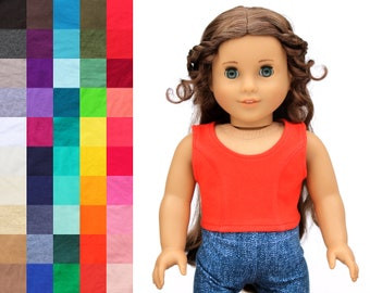 Fits like American Girl Doll Clothes - Princess Seam Crop Top, You Choose Color | 18 Inch Doll Clothes