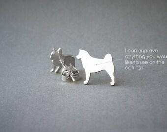 AKITA NAME Earrings - Dog Breed Earrings • Akita Inu • Name Earring • Custom Earring • Dog Gift • Dog Earring • Akita Gift