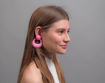 Statement Door Knocker Earrings / Oversized 80s Earrings / Vintage 80s Earrings / Vintage Jewelry
