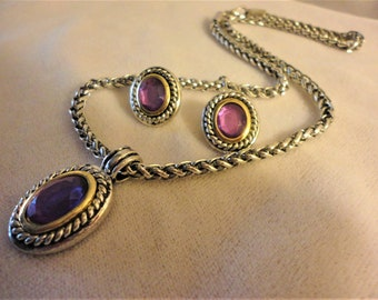 Silvertone Purple Rhinestone Necklace Chain*****.