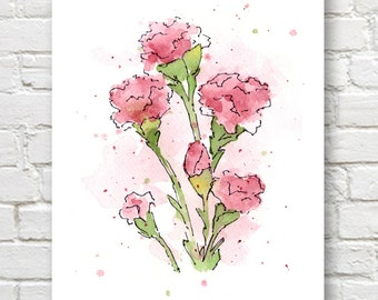 Pink Carnations Art Print - Flower Wall Decor - Floral Watercolor Painting