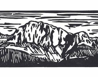 THE LITTLE WATCHMAN   3 x 6   Original Linocut Print   By Carol Bold