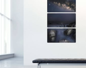 Milky Way from Huatulco Mexico Color Triptych Metal Wall Art