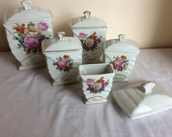 Vintage canister set, 5 French country floral ceramic storage kitchen containers