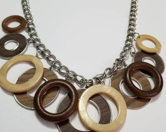Vintage wood, Metal, and Shell multi Discs Necklace