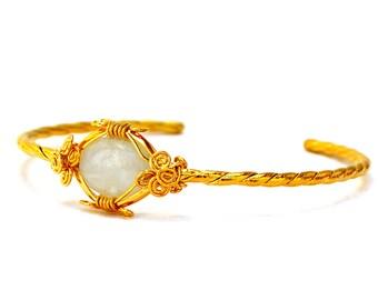 Moonstone Bracelet, Gold Bridal Bracelet, Moonstone Cuff Bracelet, Statement Bracelet, Wire Wrap Bracelet, Gold Bangle, Gift for Her