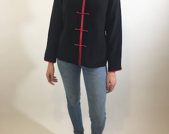 Silk Blouse with Mandarin Collar and Knotted Closures