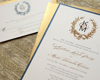 navy blue and gold wedding invitations, vintage wreath wedding invitations, wreath monogram wedding invitation, gold foil save the dates