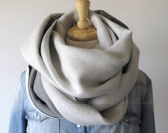 Cowl Infinity Scarf, Cozy Brushed Sweatshirt Fleece, SPRING SALE 40% OFF
