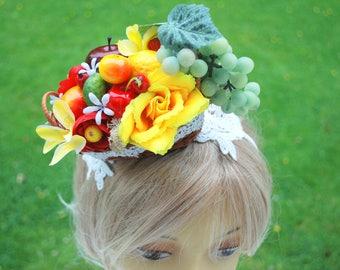 Carmen Miranda Exotic Fruits Headband, Red Yellow Green Fruits, Grape Headband, Carmen Miranda Themed Hair Accessories, Exotic Props, Rio