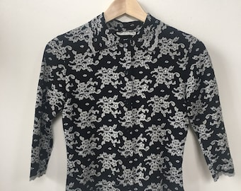 1990's Black Vintage Womens Blouse With White Floral Pattern