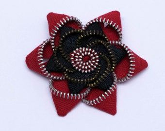 Red and Black recycled zipper flower pin, brooch
