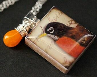 Bird Necklace. Robin Necklace. Scrabble Tile Necklace. Charm Necklace with Orange Teardrop. Handmade Jewelry.