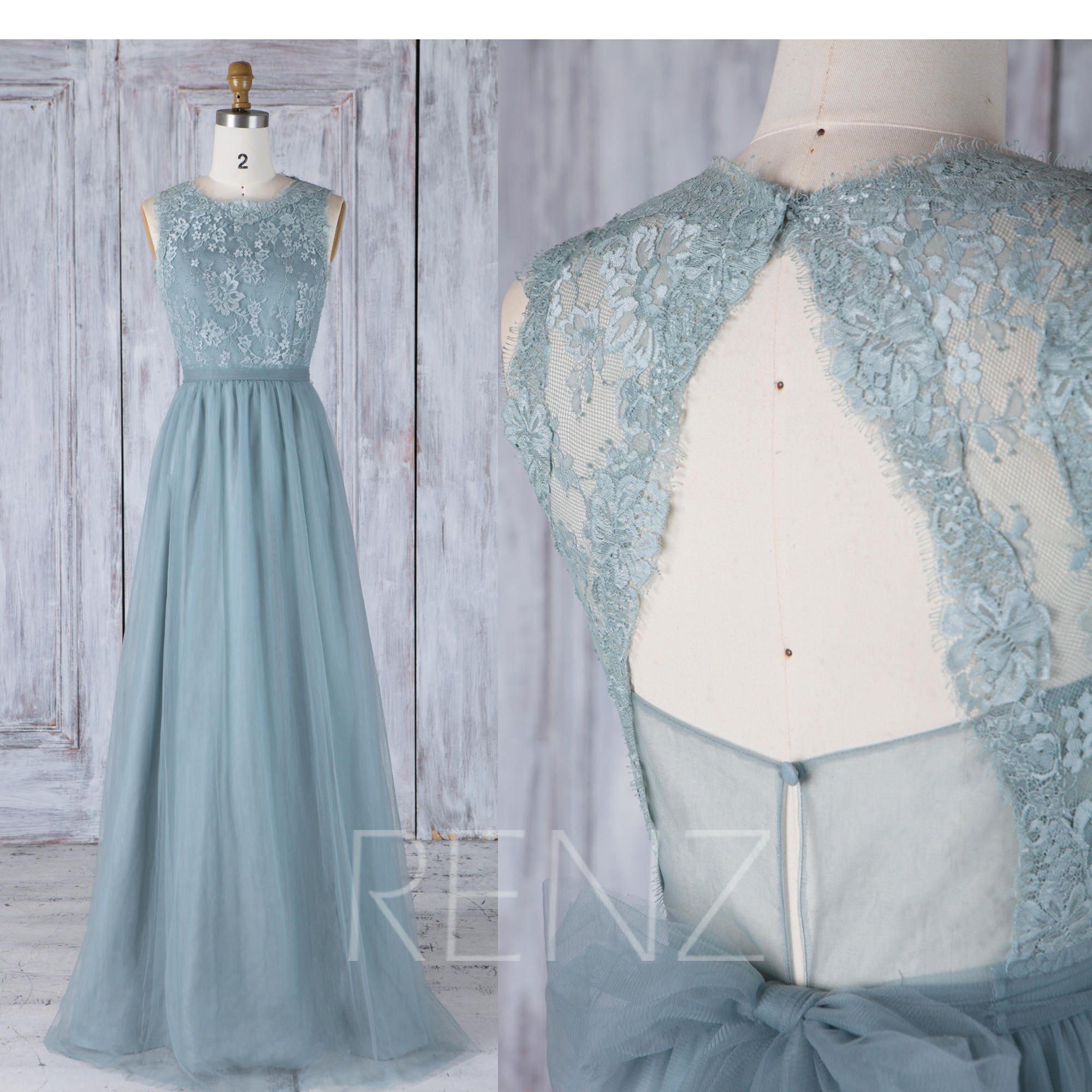 Bridesmaid Dress Dusty Blue Tulle DressWedding DressLace