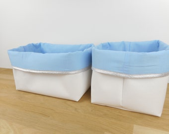 Contact the seller, storage basket 4 sizes available, white faux leather and fabric colors, edge gilt, silver or plain