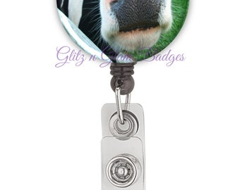 Cow Retractable ID Badge Holder Reel, Funny Badge Reel, Farm Animal Badge Tag Holder, Office Id Holder, Cow Badge Reel - GG1008