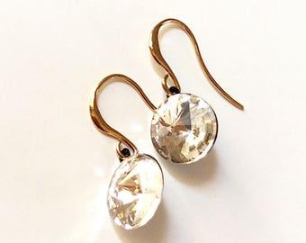 Clear crystal earrings/ Statement earrings/ Modern earrings/ Round drop earrings/ Fashion earrings/ Oxidised earrings/ Gift for her