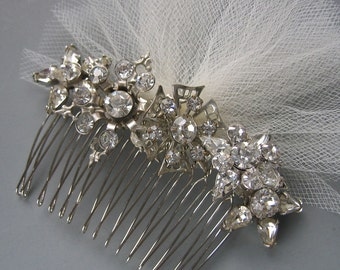 Rhinestone and Tulle Snowflake Comb