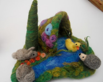 Waldorf, miniature play mat, Play Scape,stocking filler, felted miniatures, play school, nursery school, pre school, mini felt animals
