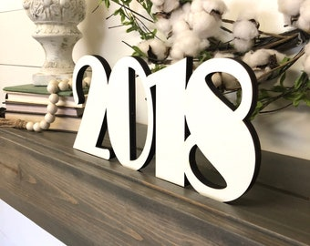 Graduation 2018 Decor, Class of 2018 Graduation Party Decoration, Date Wood Word Cutout, Scroll Cut Word, Wooden Number Cutout