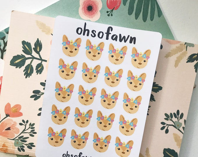 Hand Drawn Floral Fawn Stickers