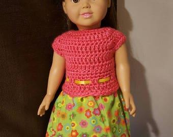 "Hand Crochet Dress w fabric bottom for 18"" doll w shoes"