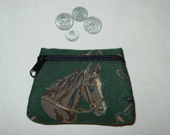Horse Cap Crop Dog and Hound  Tapestry Coin Purse, Equestrian Handbags