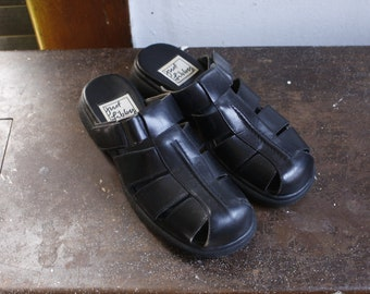 Vintage Black Leather Mules with Buckle Doc Martens Style Womens 6.5