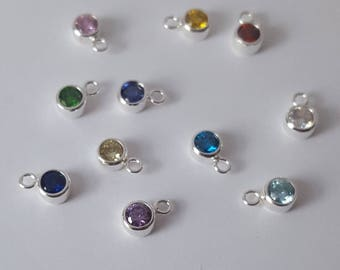 Sterling silver birthstone, 5mm, Cubic Zirconia, Fast Shipping from USA