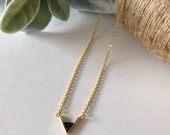 Triangle Black Marble Pattern Stone Necklace/Gift For Her/Birthday Gift/Layered Necklace